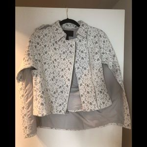 BCBG MaxAzria white and grey cape blazer size S